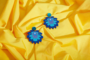 Blue floral hand painted earrings