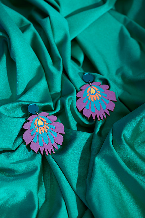 Purple floral hand painted earrings
