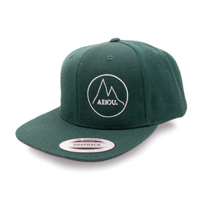 AEIOU MNTN Snapback Cap by Yupoong - Bottlegreen