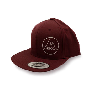 AEIOU MNTN Snapback Cap by Yupoong - Bordeaux