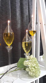 Waterlily Stems Handcrafted Glass Oil Candle