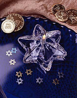 Classic Star of David Crystal Glass Candle