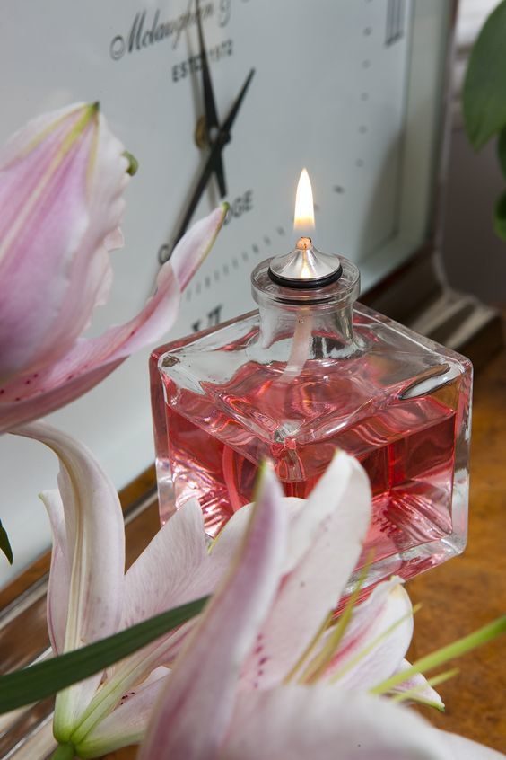 Moulded Glass Oil Candle Cube