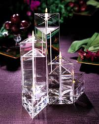 "Prism - Small (2 1/2"" side width) Handcrafted Glass Oil Candle Trio ( three various lengths)"