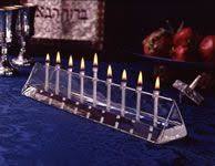 "Prism Menorah 12.5"" Handcrafted Glass Table Light"