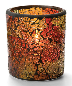 Red & Gold Crackle™ Glass Votive Lamp