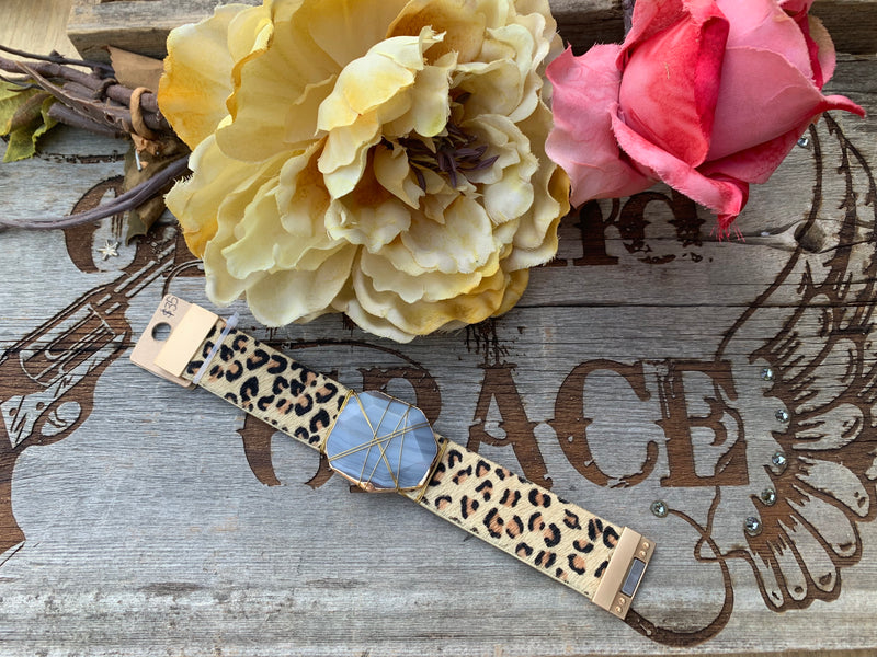 Leather Leopard stone bracelet magnetic