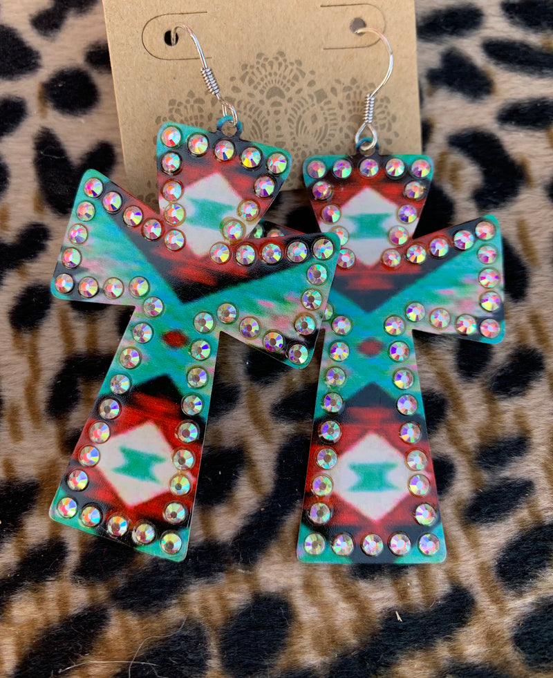 Aztec       Gypsy      Cross Earrings