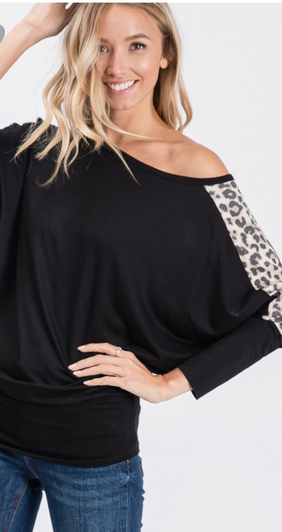 Black Blouse With long sleeve comfy off the shoulder leopard blouse