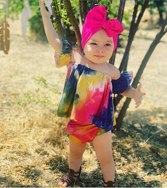 Baby/Toddler Tye Dye Off The Shoulder Top With Bummies