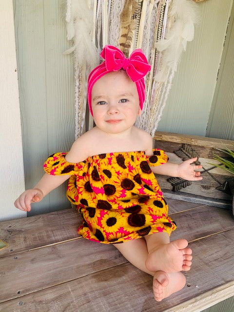 Baby/Toddler Sunflower Off The Shoulder Dress