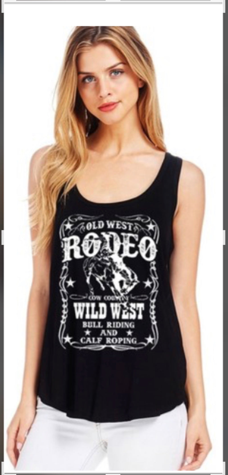 Women's Rodeo Tank Cowboy Wild West Black Tank Top