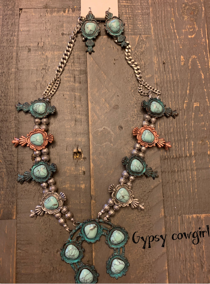 Squash blossom western necklace with earrings