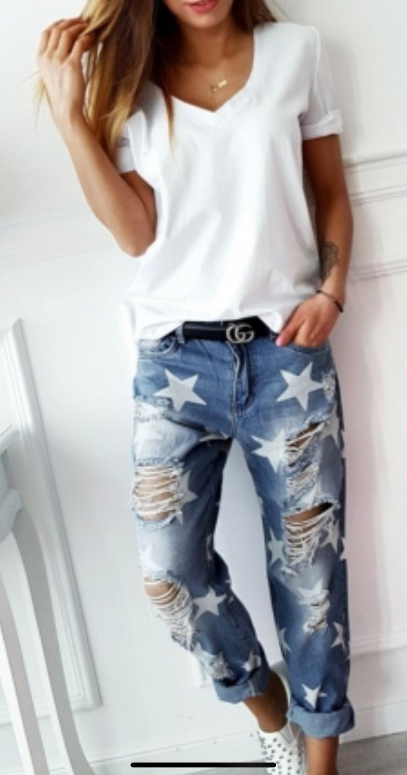 Star ripped  distressed denim jeans