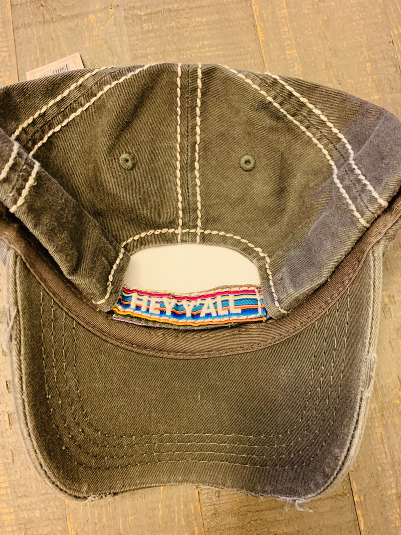 Hey y'all Woman's baseball Distressed cap