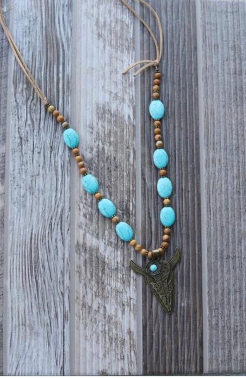 Antique gold bullhead turquoise necklace