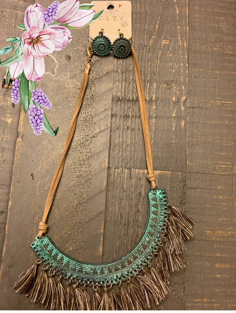 Funky Turquoise plated tassel necklace with earrings