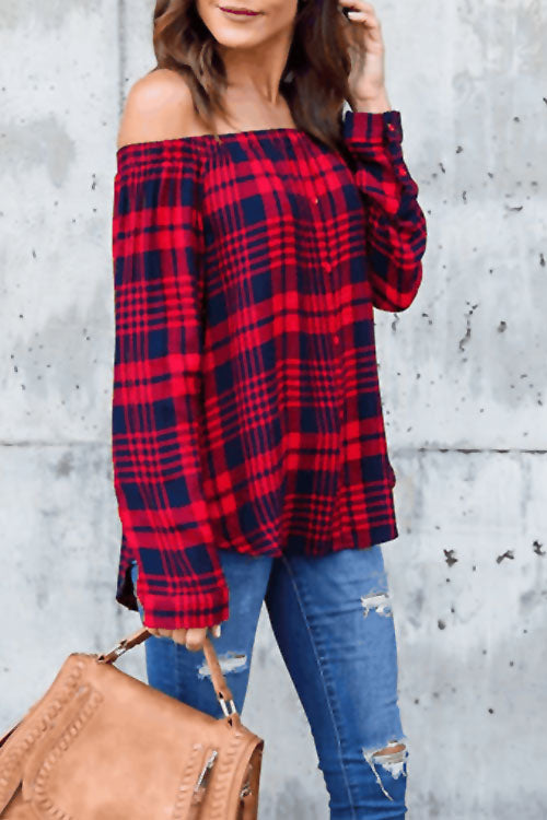 Lopezdress Grid Printed Long Sleeve Shirt