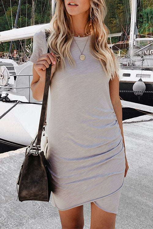 Lopezdress Daily Round Neck Short Sleeves Mini Dress