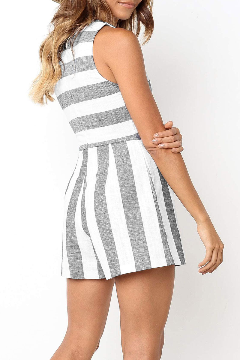 Lopezdress Casual Striped Straight Short Romper