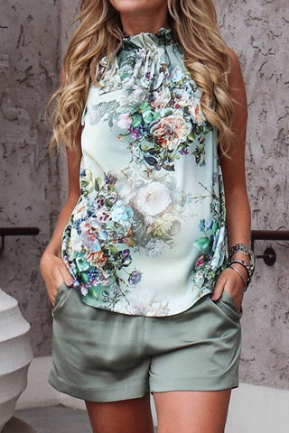 Lopezdress Floral Printed V Neck Blouse