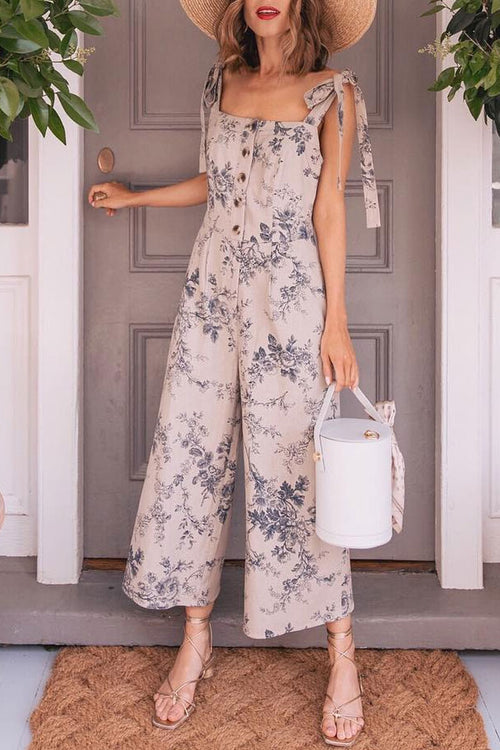 Lopezdress Vintage Floral Printed Sleeveless Jumpsuit