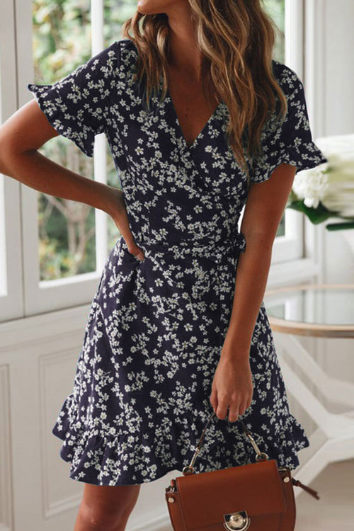 Lopezdress V Neck Floral Printed Mini Dress