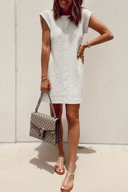 Lopezdress O Neck White Casual Mini Dress