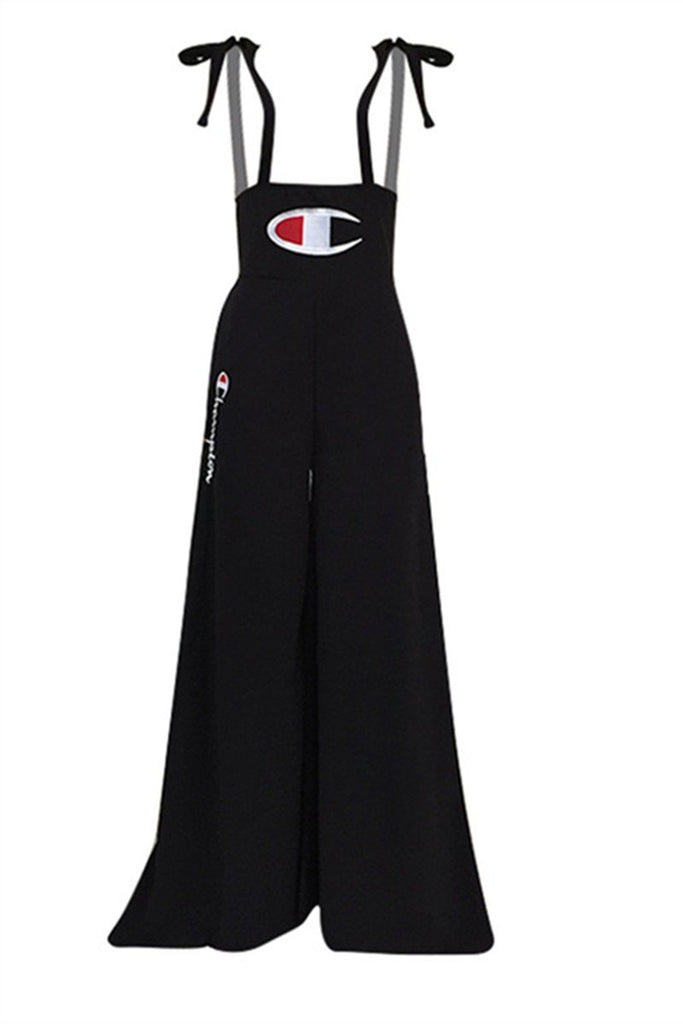Letter Embroidered Tie Shoulder Casual Overalls