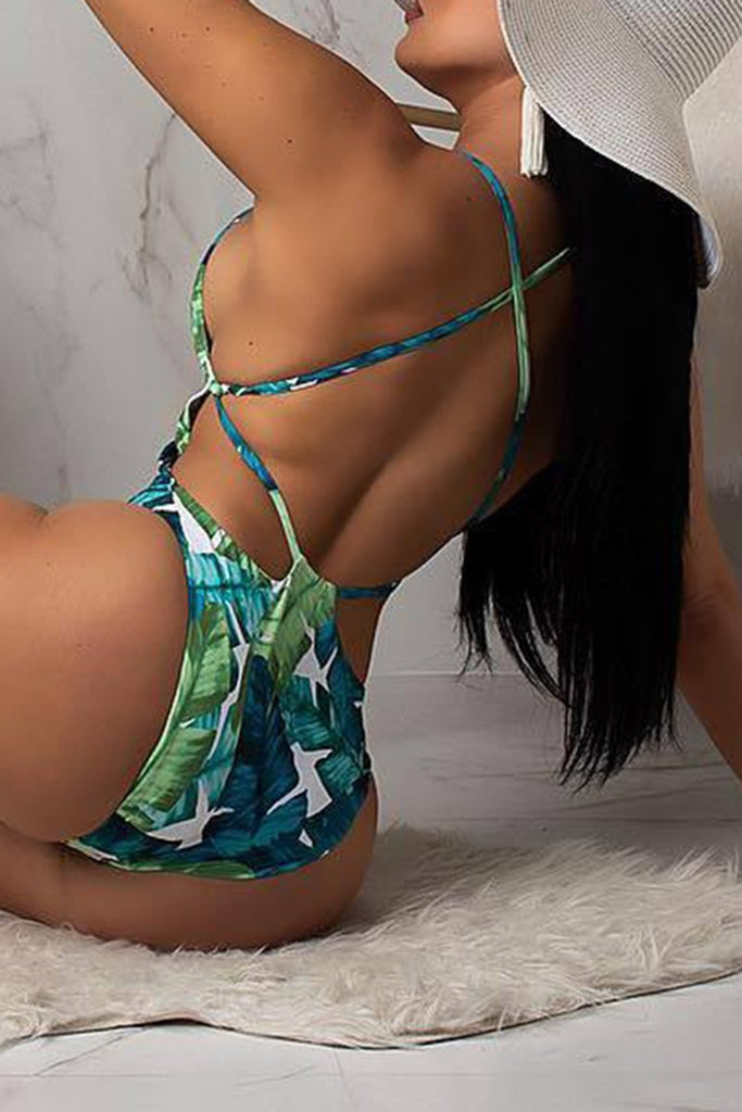 Criss Cross Back Leaf Print One Piece Swimwear