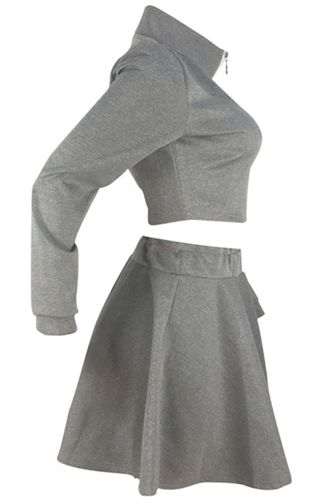 Zip Up Long Sleeve Solid Color Skater Two Piece Dress