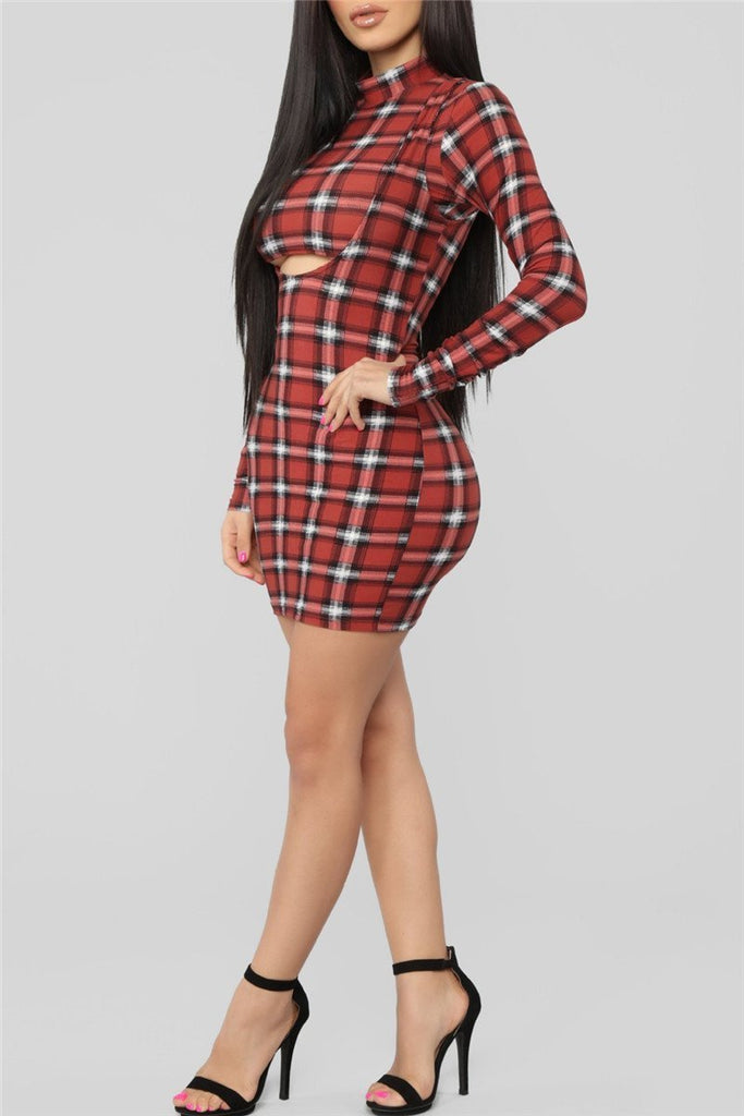Plaid Print Long Sleeve Sexy Two Piece Dress