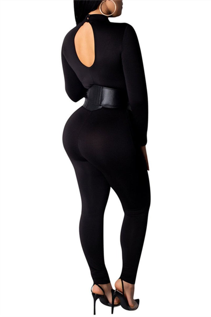 Semi Sheer Long Sleeve Sexy Jumpsuit With Belt