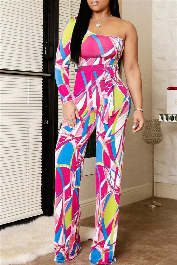 Printed One Sleeve Belted Jumpsuit