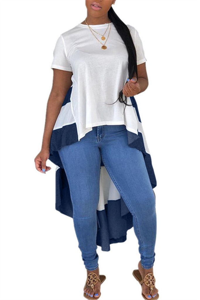 Color Patchwork Short Sleeve Asymmetric Casual Top
