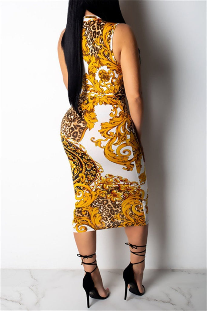 Quarter Zip Sleeveless Printed Midi Dress