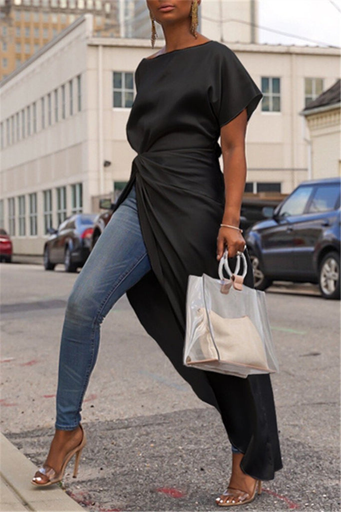 Solid Color Short Sleeve Asymmetric Casual Blouse