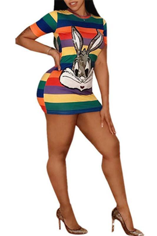 Cartoon Sequined Short Sleeve Striped Mini Dress
