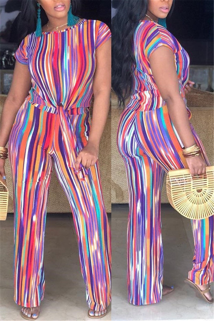Tie Up Short Sleeve Stripe Print Two Piece Outfits