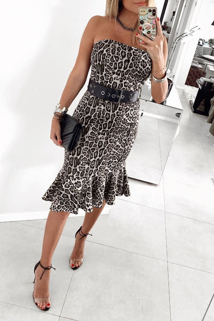 Leopard Print Strapless Ruffled Hem Dress