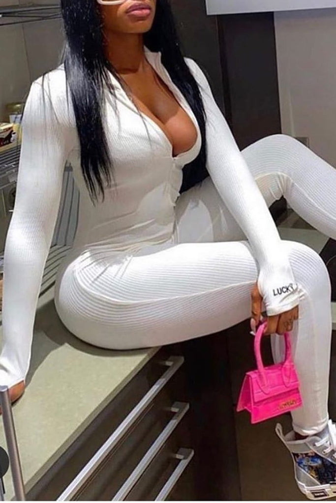 Zipper Collar Long Sleeve Solid Jumpsuit