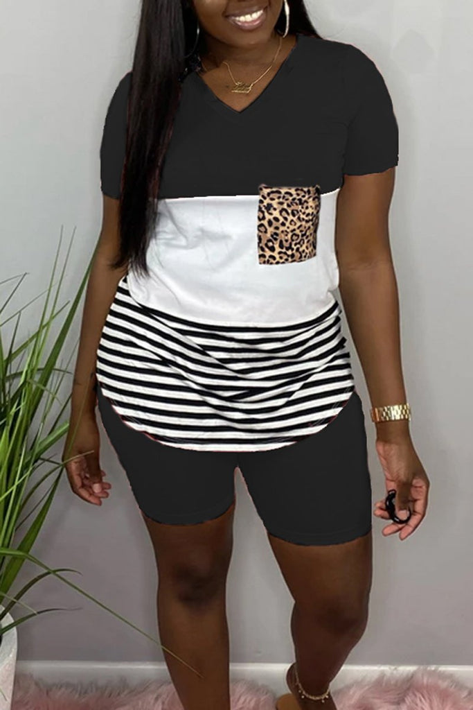 V-Neck Patchwork Leopard Two Piece Sets