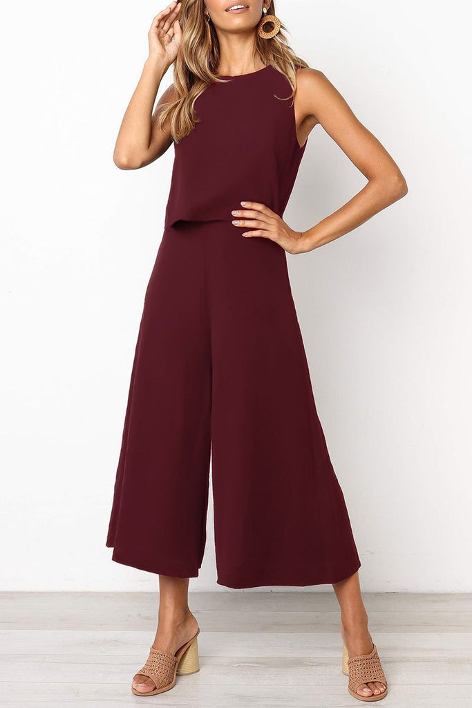 Solid Color Sleeveless Casual Jumpsuit