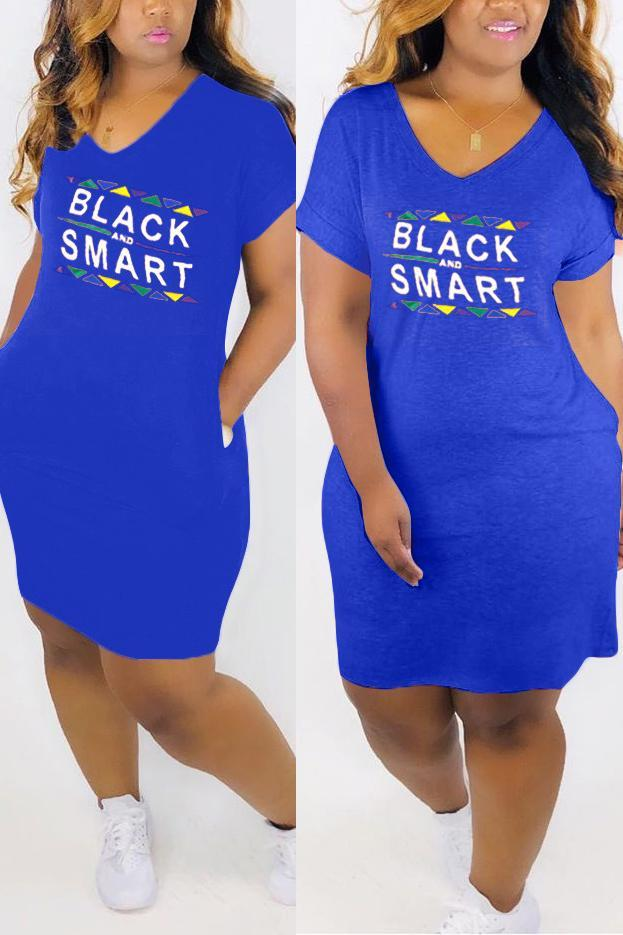 V Neck Letter Print Plus Size Pocket Dress