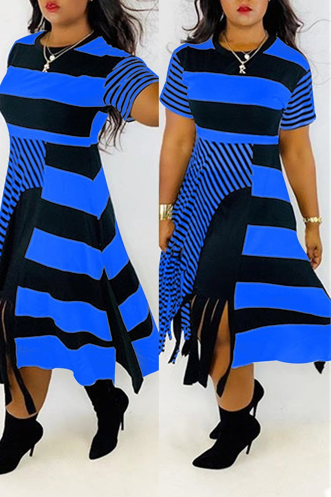Tassels Hem Stripe Print Short Sleeve Dress