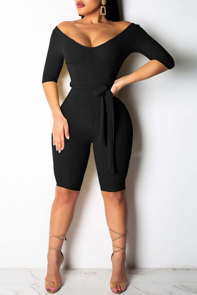Solid Color Deep V Neck Belted Half Sleeve Romper