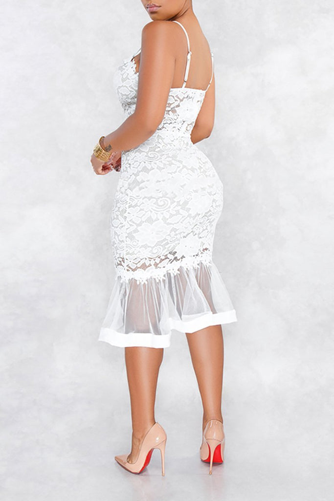 See-Through Net Yarn Solid Color Lace Dress