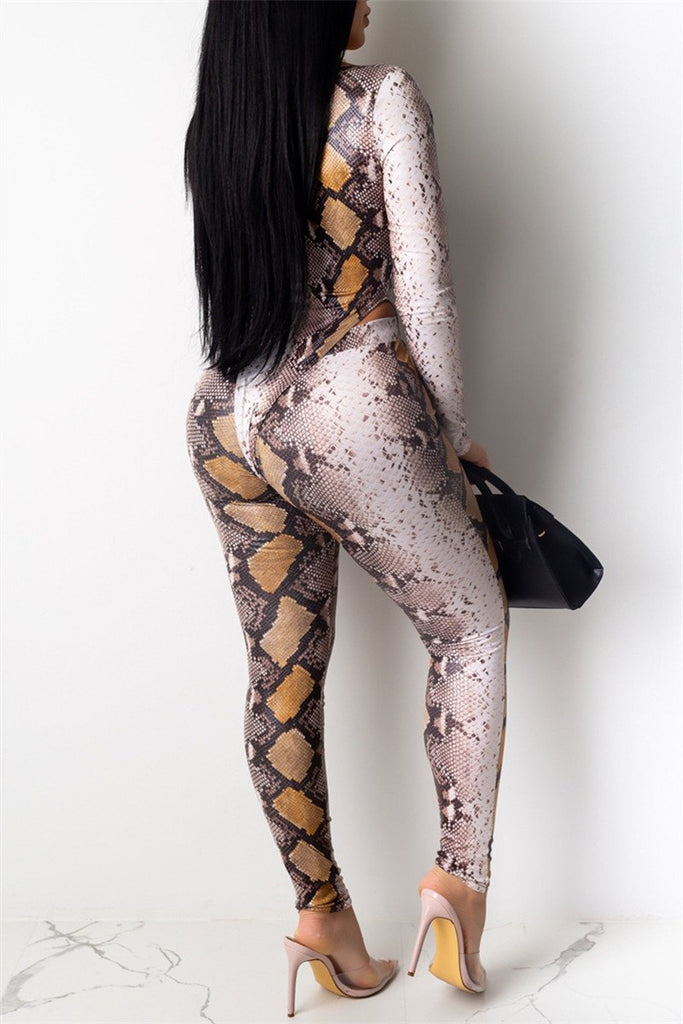 Snake Print Long Sleeve Two Piece Sets