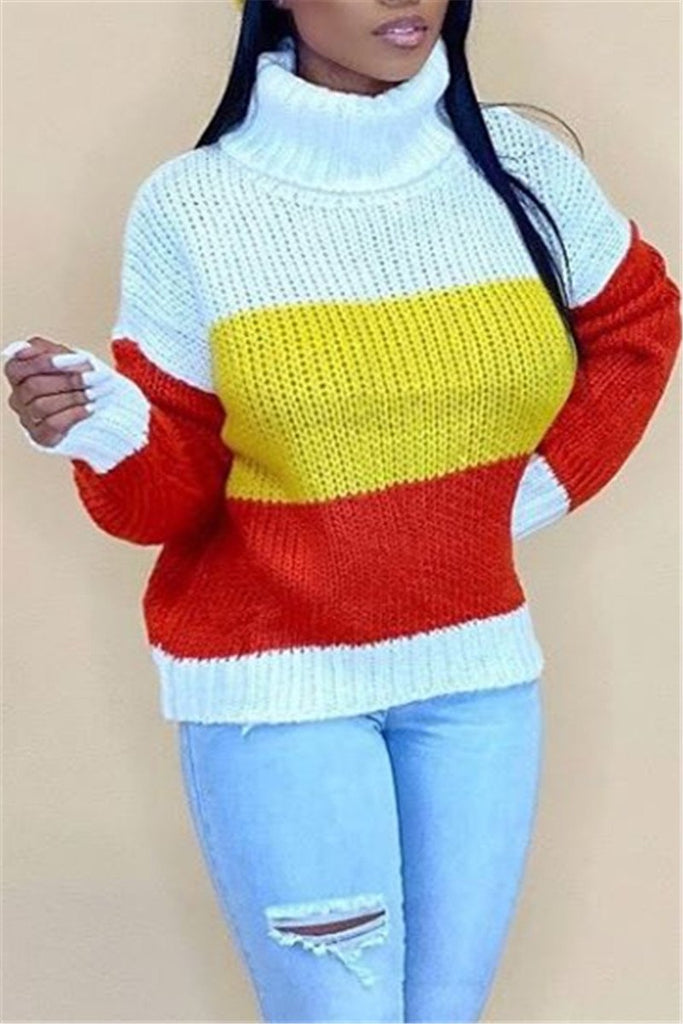 Color Block Turtleneck Long Sleeve Sweater