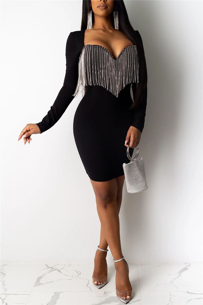 Tassels Decor Long Sleeve Mini Dress